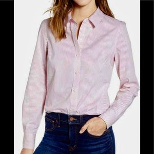 J Crew Pink & White Polo Shirt Long Sleeve